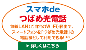 スマホdeつばめ光電話。無線LAN(ご自宅のWi-Fi)経由で、スマートフォンを「つばめ光電話」の電話機として利用できる。